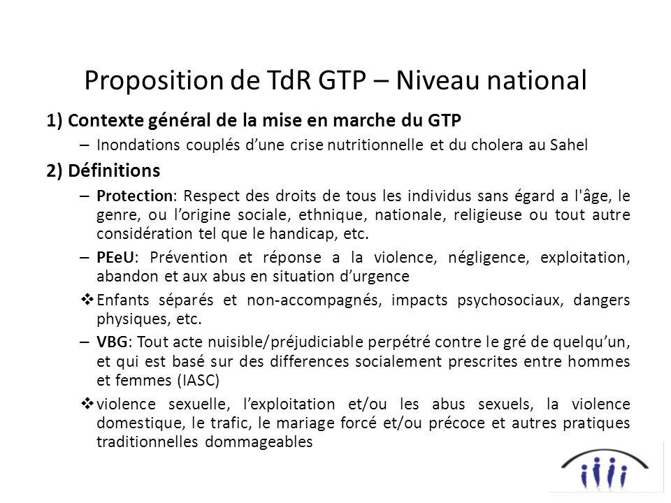 Proposition de TdR GTP – Niveau national