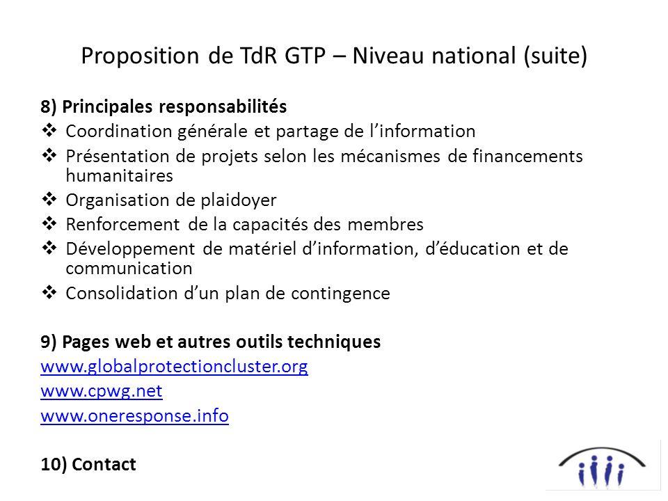 Proposition de TdR GTP – Niveau national (suite)