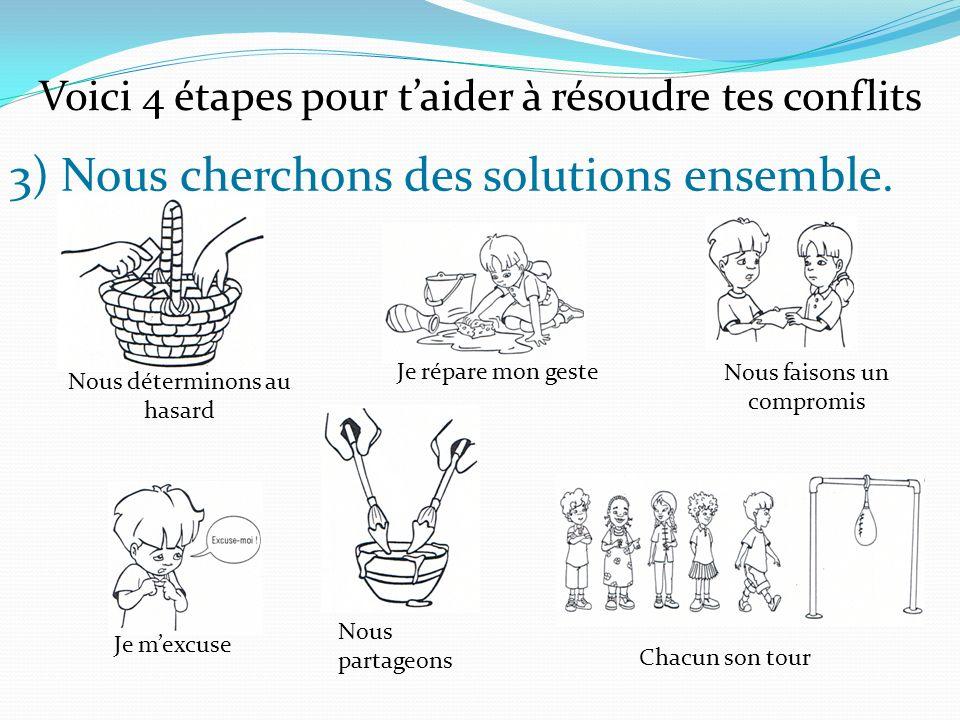 3) Nous cherchons des solutions ensemble.