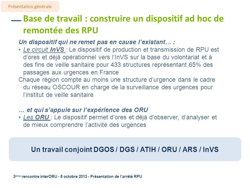 Un travail conjoint DGOS / DGS / ATIH / ORU / ARS / InVS
