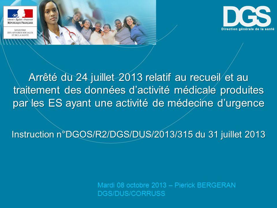 Instruction n°DGOS/R2/DGS/DUS/2013/315 du 31 juillet 2013