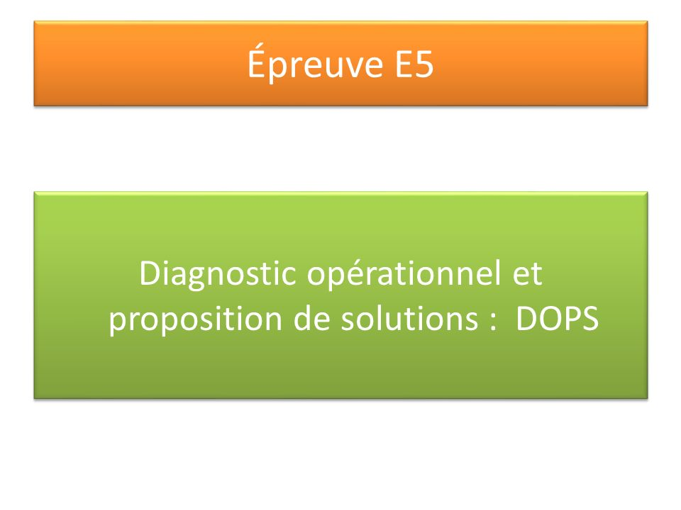 Diagnostic opérationnel et proposition de solutions : DOPS