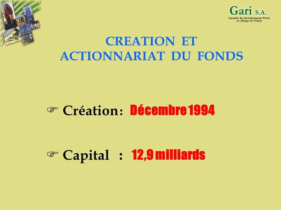 Création : Décembre 1994 Capital : 12,9 milliards CREATION ET