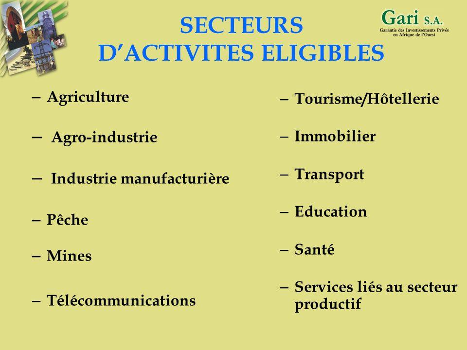 SECTEURS D'ACTIVITES ELIGIBLES