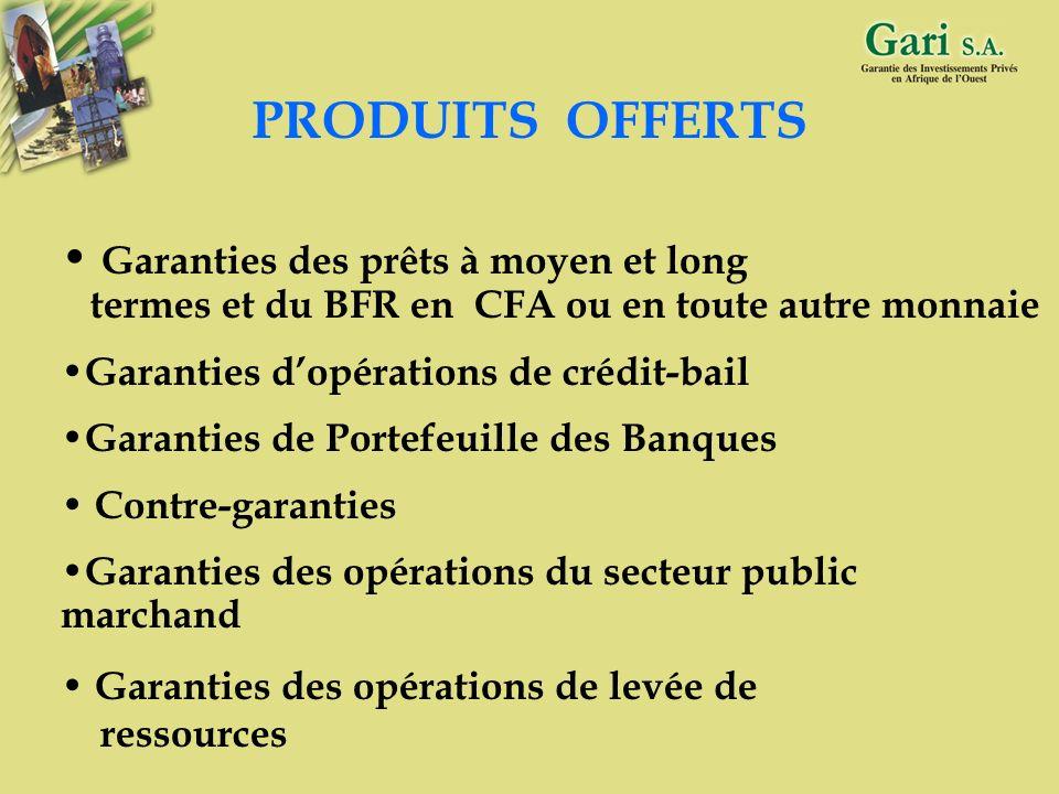PRODUITS OFFERTS Garanties des prêts à moyen et long termes et du BFR en CFA ou en toute autre monnaie.