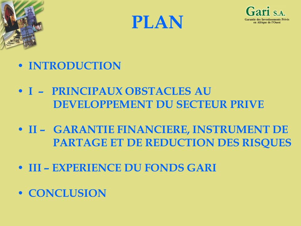 PLAN INTRODUCTION. I – PRINCIPAUX OBSTACLES AU DEVELOPPEMENT DU SECTEUR PRIVE.