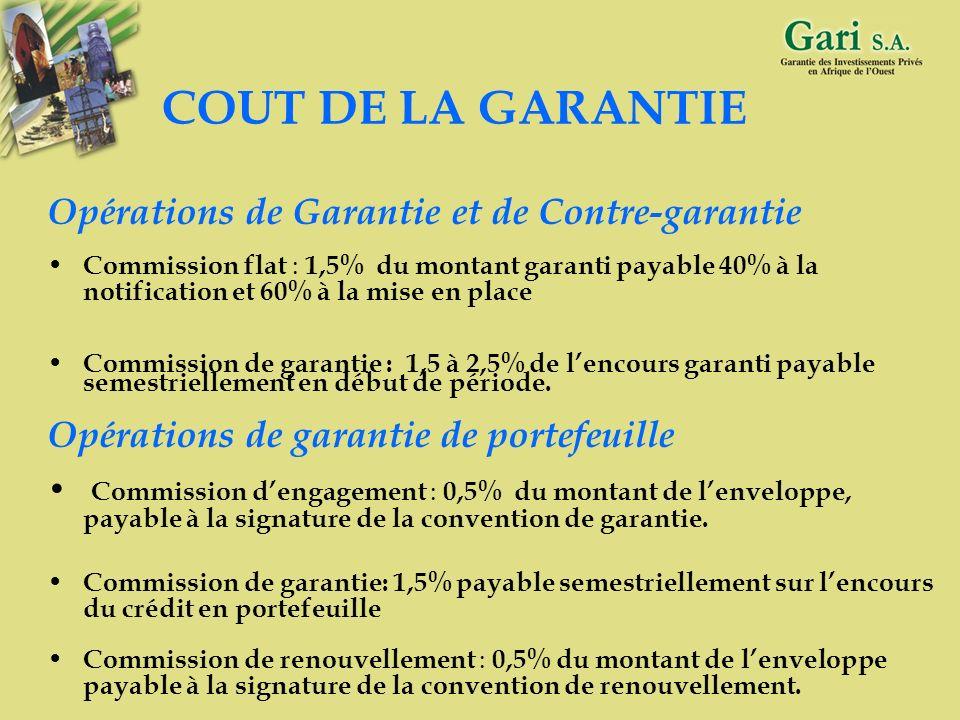 COUT DE LA GARANTIE Opérations de Garantie et de Contre-garantie