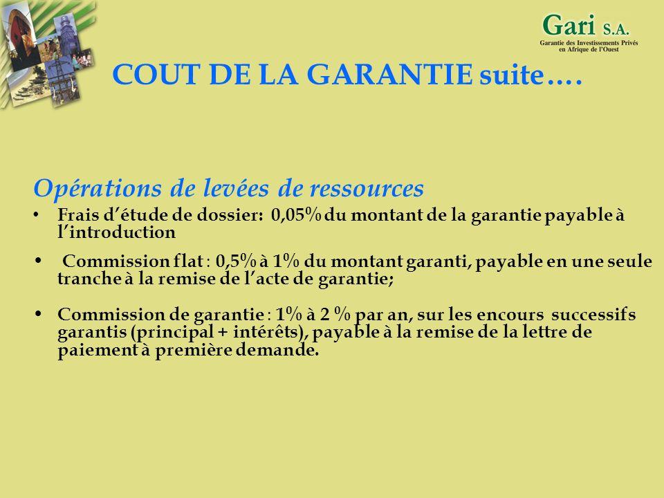 COUT DE LA GARANTIE suite….