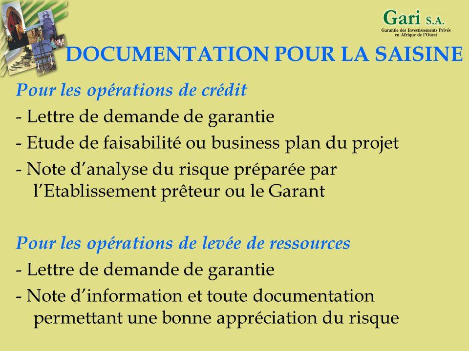 DOCUMENTATION POUR LA SAISINE