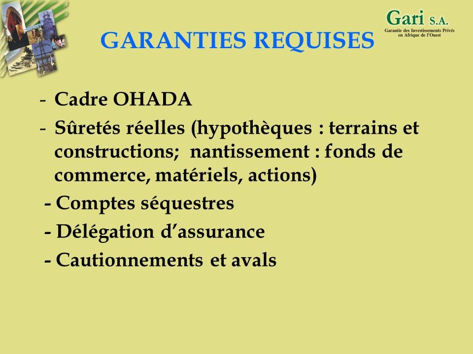 GARANTIES REQUISES Cadre OHADA