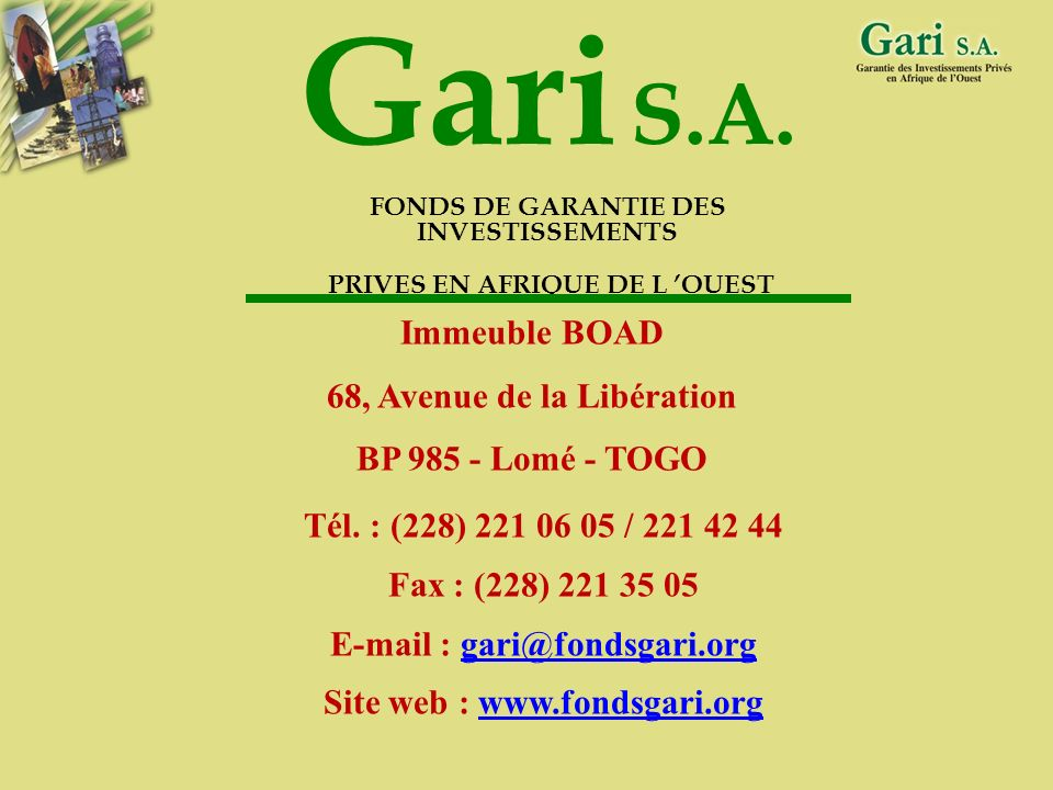 Gari S.A. Immeuble BOAD 68, Avenue de la Libération