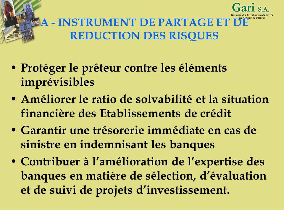 A - INSTRUMENT DE PARTAGE ET DE REDUCTION DES RISQUES