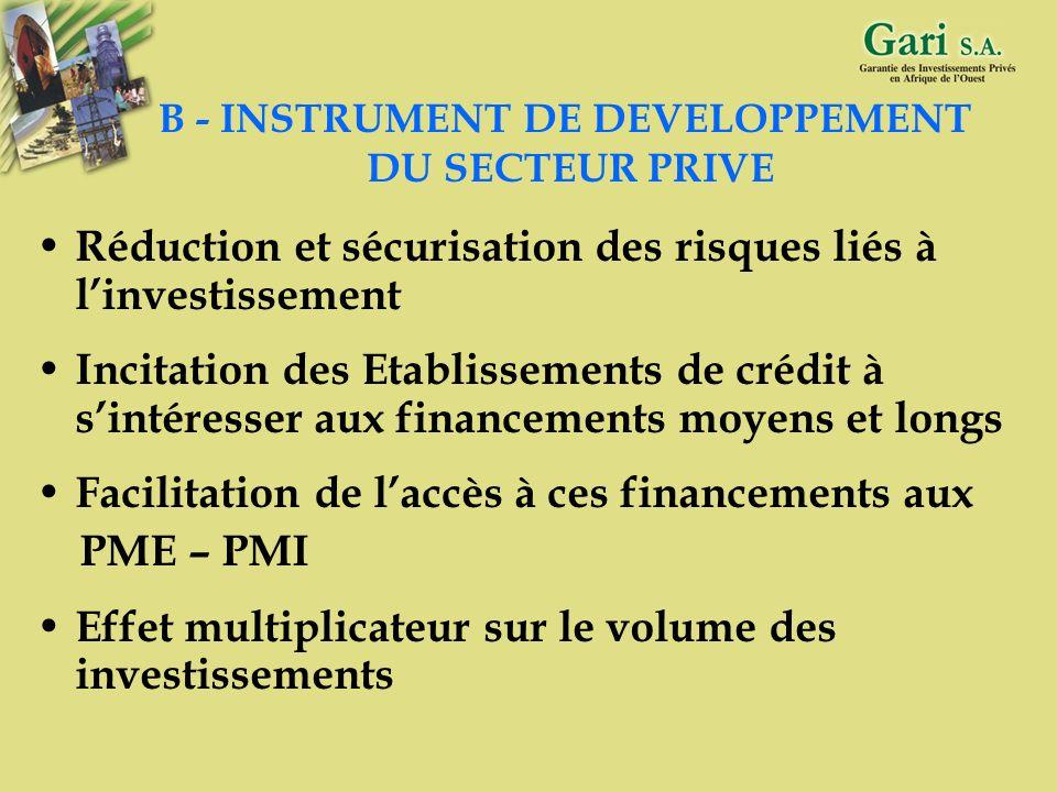 B - INSTRUMENT DE DEVELOPPEMENT DU SECTEUR PRIVE
