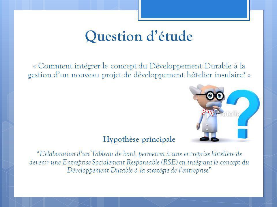 Question d'étude « Comment intégrer le concept du Développement Durable à la gestion d'un nouveau projet de développement hôtelier insulaire »
