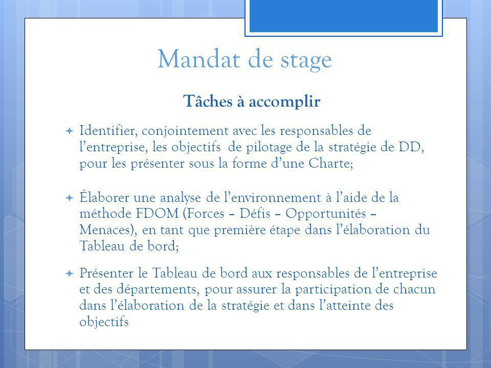 Mandat de stage Tâches à accomplir