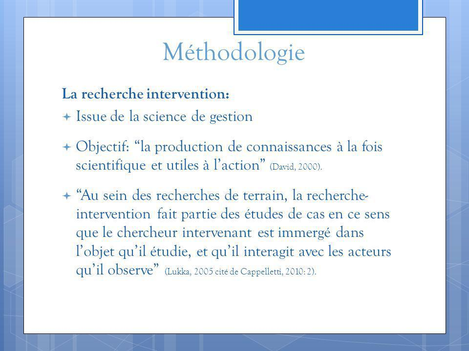 Méthodologie La recherche intervention: Issue de la science de gestion