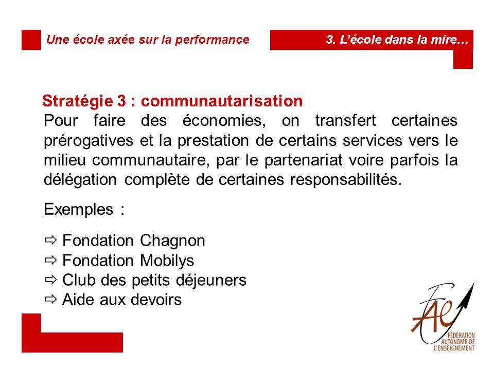 Stratégie 3 : communautarisation