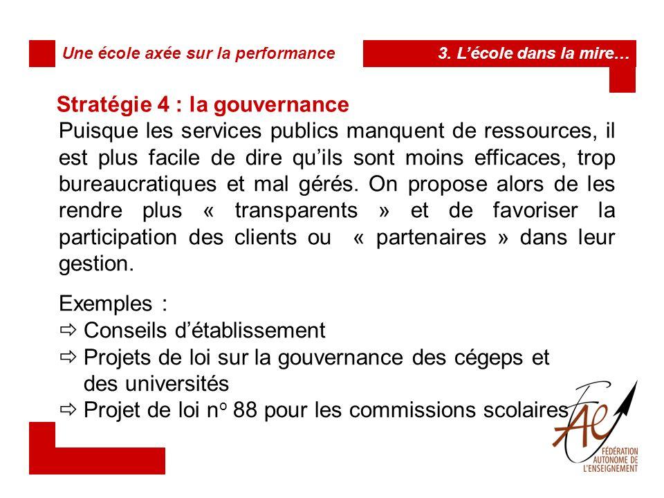 Stratégie 4 : la gouvernance