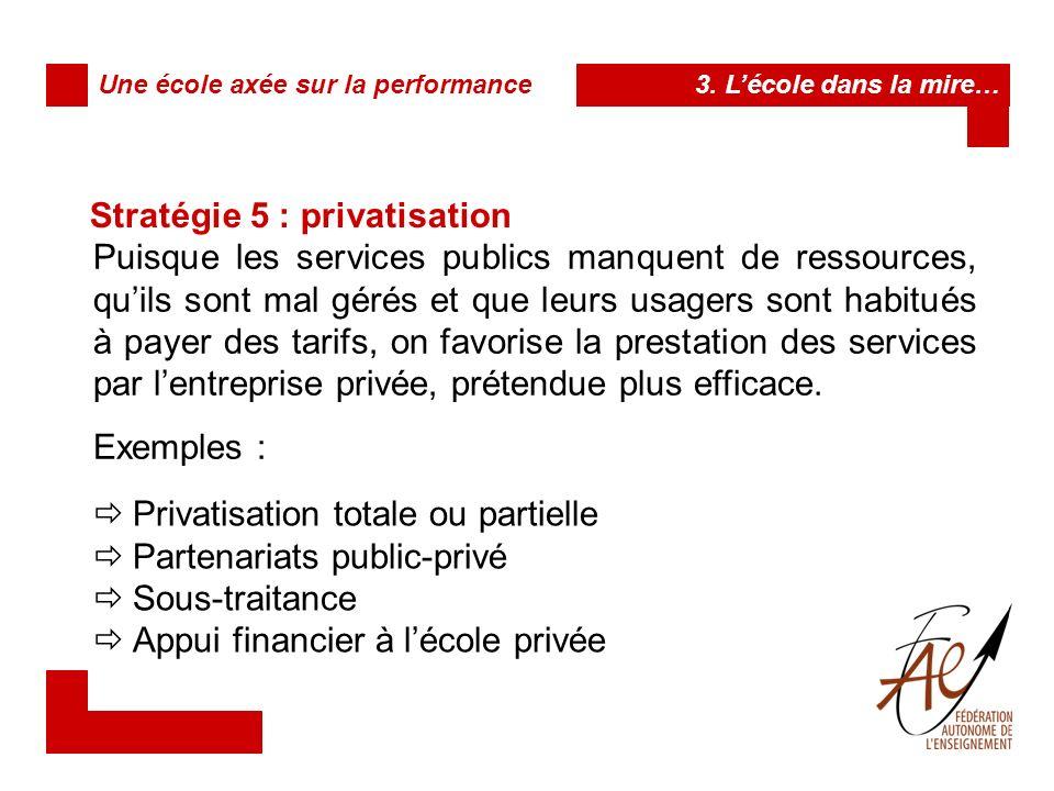 Stratégie 5 : privatisation