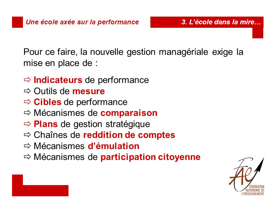 Indicateurs de performance Outils de mesure Cibles de performance