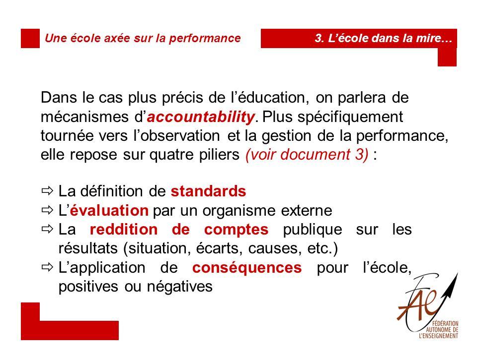 La définition de standards L'évaluation par un organisme externe