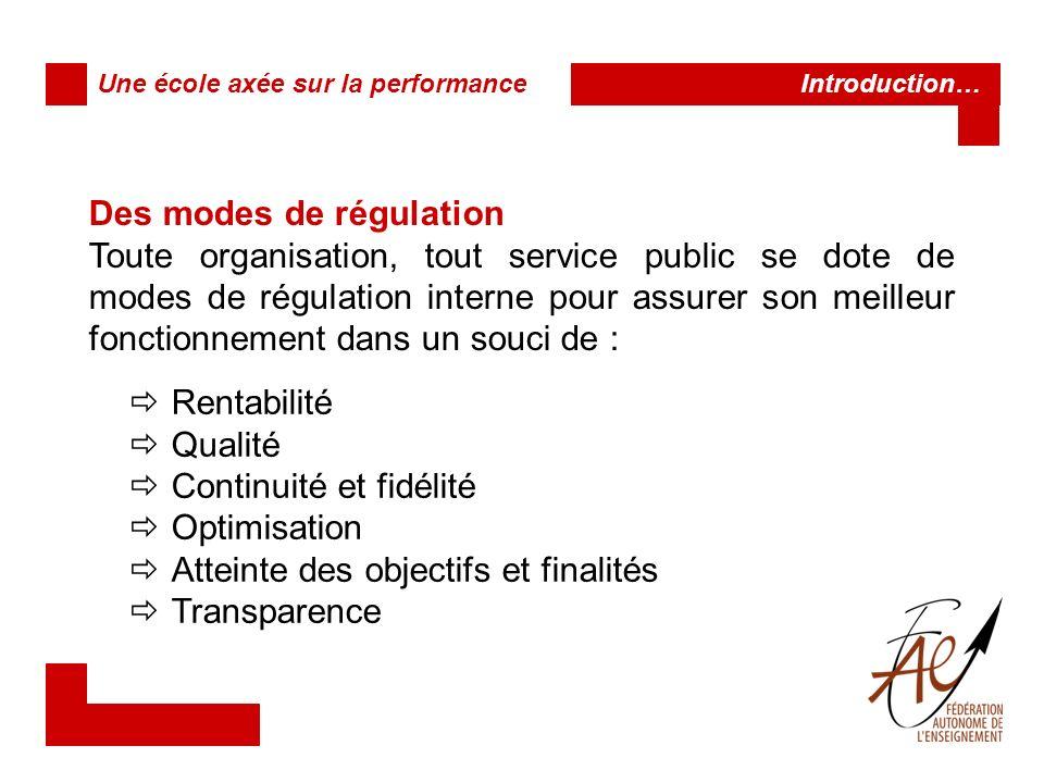 Des modes de régulation