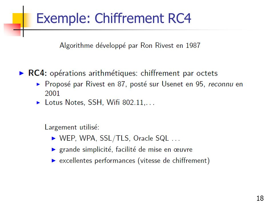Exemple: Chiffrement RC4