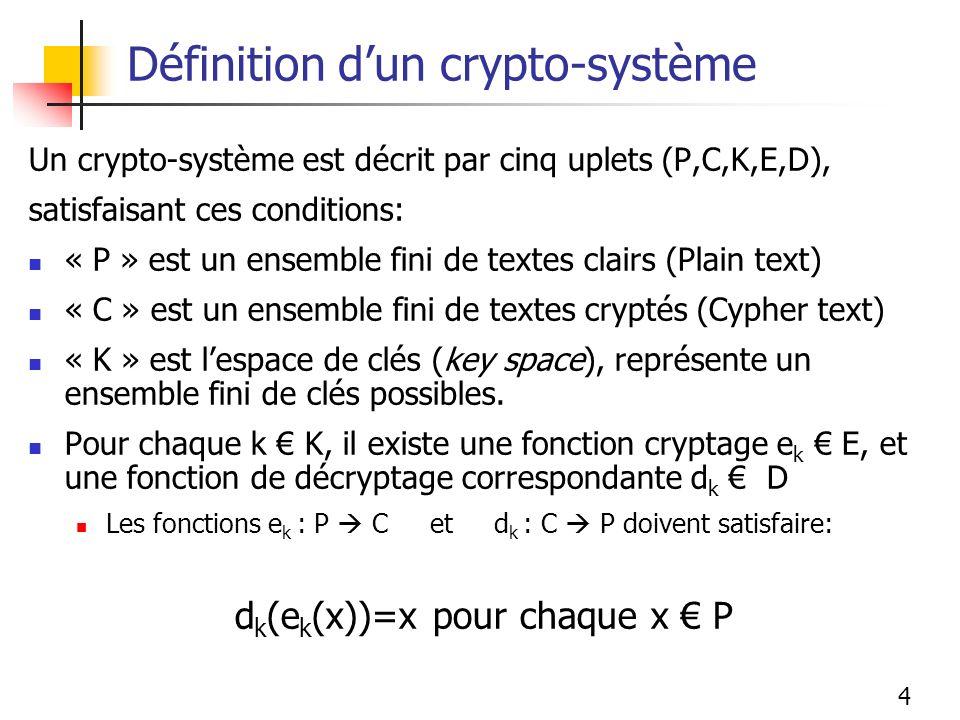 Définition d'un crypto-système