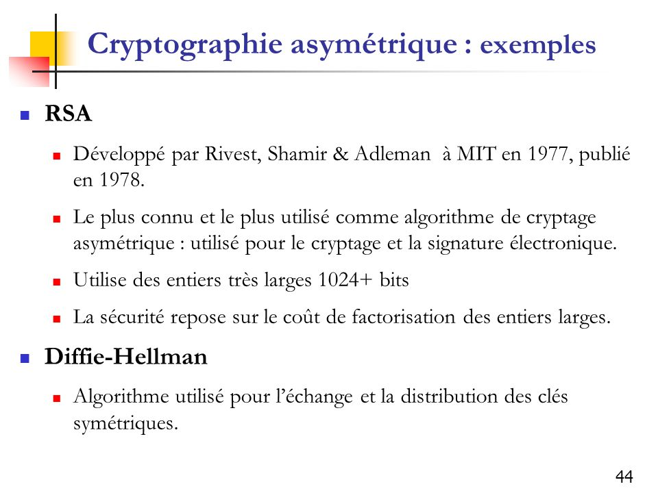 Cryptographie asymétrique : exemples