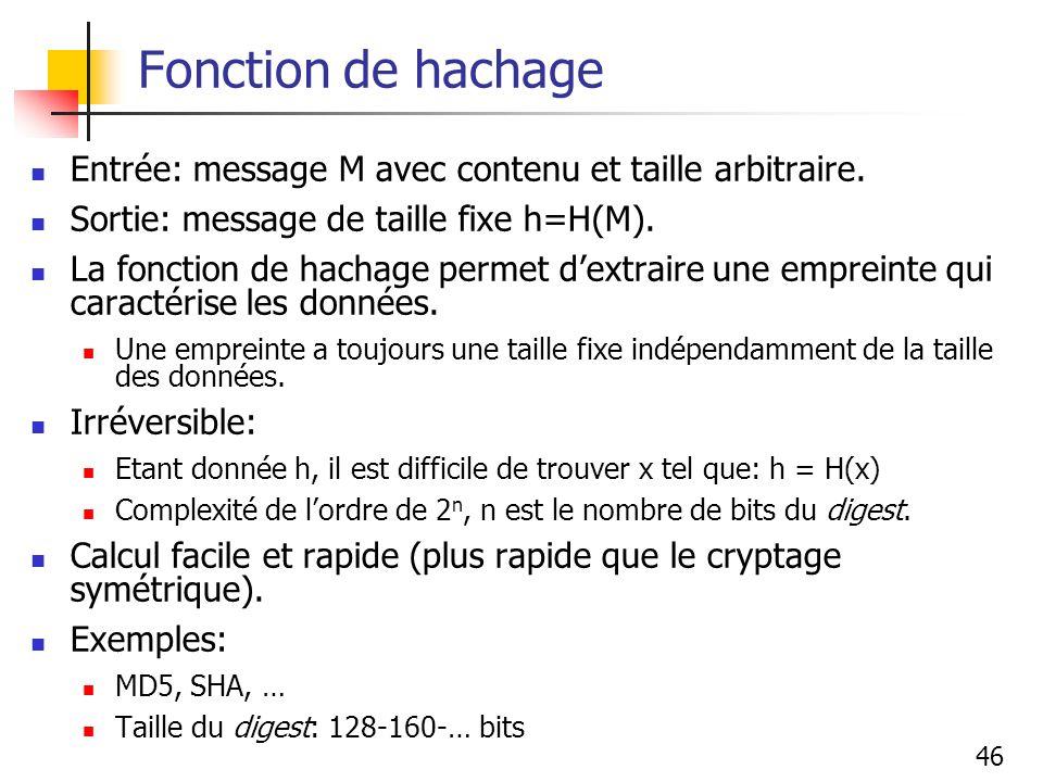 Fonction de hachage Entrée: message M avec contenu et taille arbitraire. Sortie: message de taille fixe h=H(M).