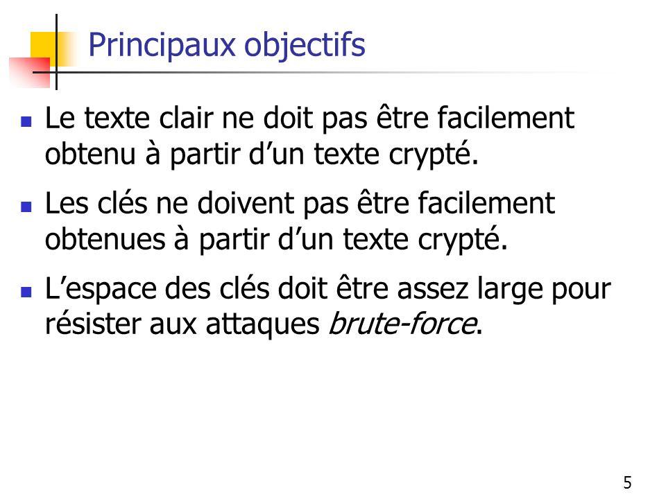 Principaux objectifs Le texte clair ne doit pas être facilement obtenu à partir d'un texte crypté.