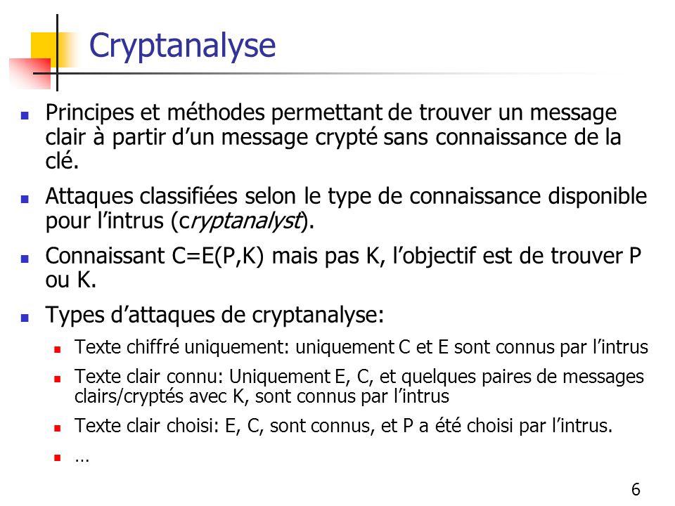 Cryptanalyse Principes et méthodes permettant de trouver un message clair à partir d'un message crypté sans connaissance de la clé.