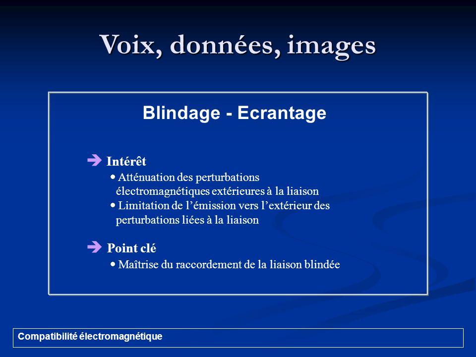 Voix, données, images Blindage - Ecrantage  Intérêt  Point clé