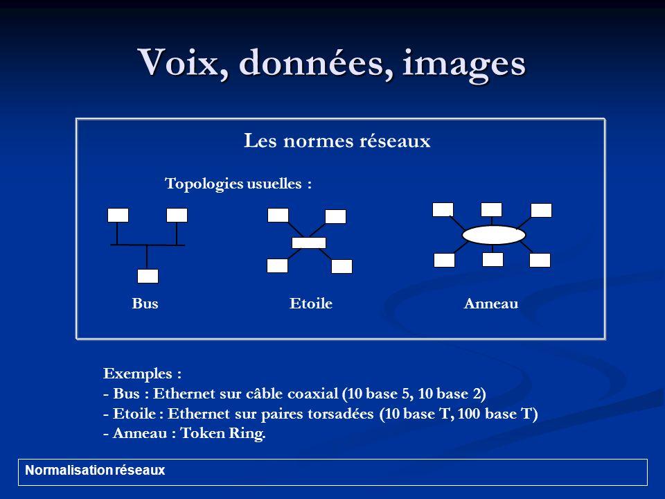 Voix, données, images Les normes réseaux Topologies usuelles :