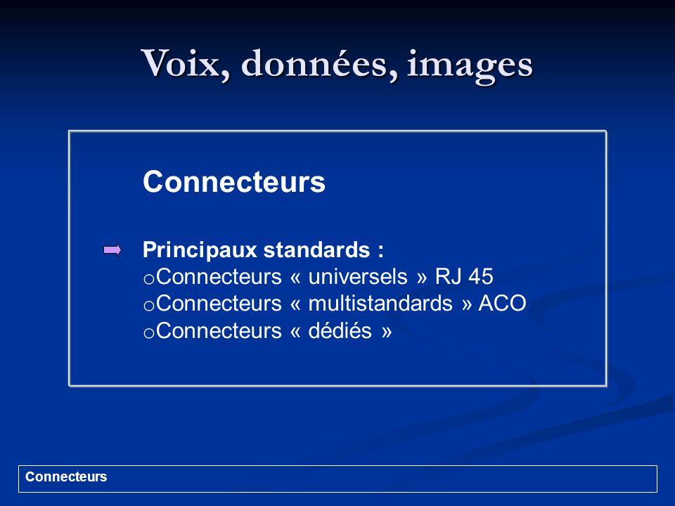 Voix, données, images Connecteurs Principaux standards :