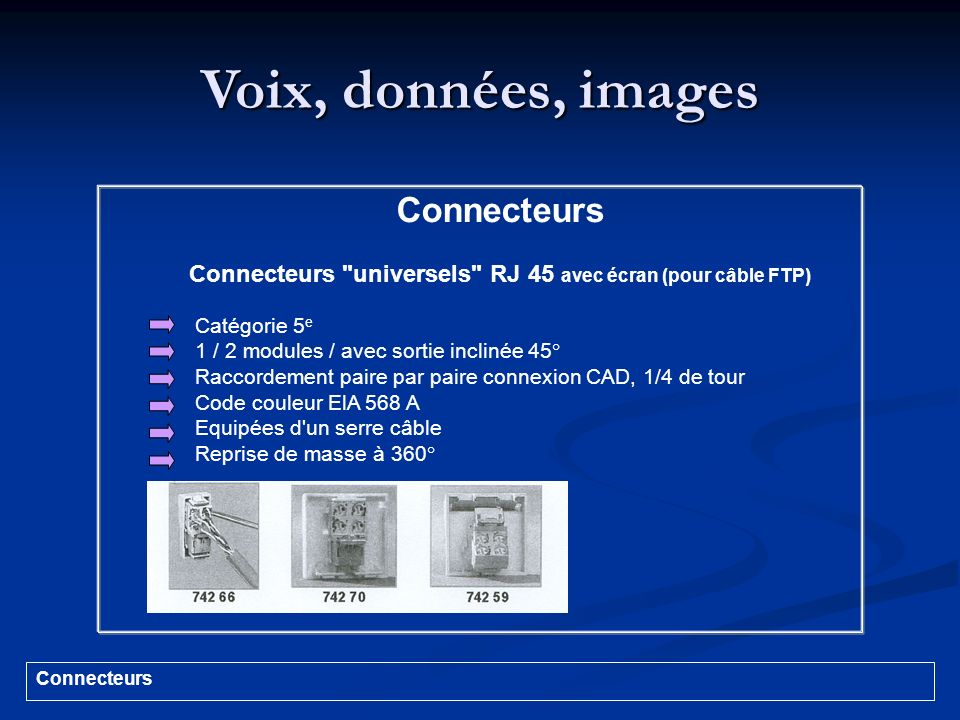 Connecteurs universels RJ 45 avec écran (pour câble FTP)