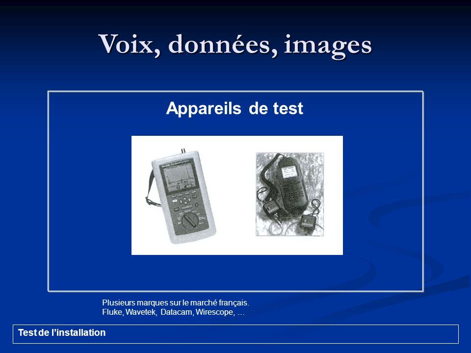 Voix, données, images Appareils de test Test de l'installation