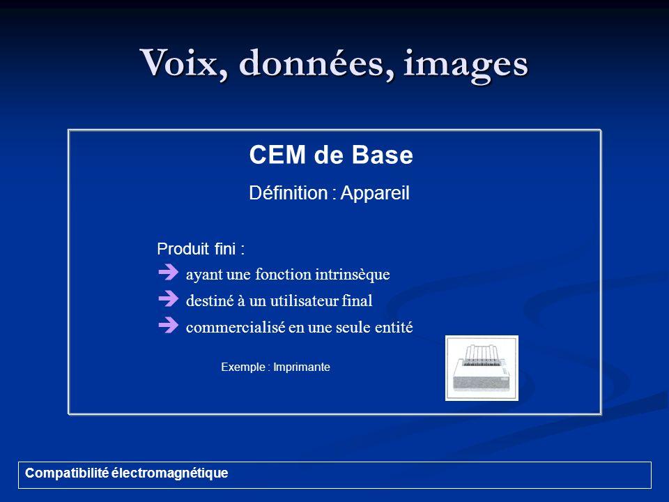 Voix, données, images CEM de Base  ayant une fonction intrinsèque
