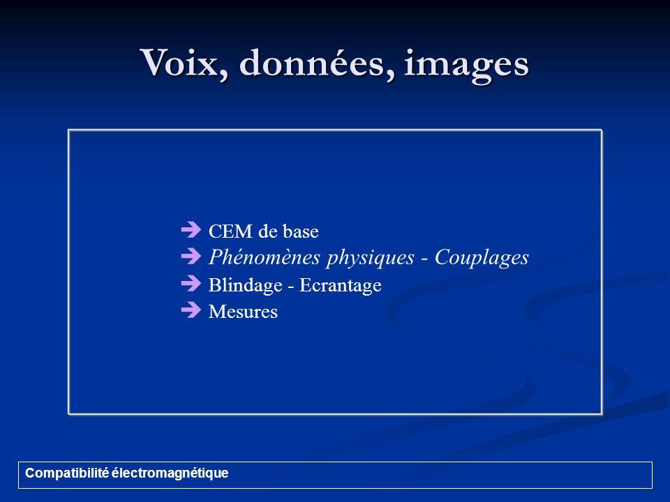 Voix, données, images  CEM de base  Phénomènes physiques - Couplages