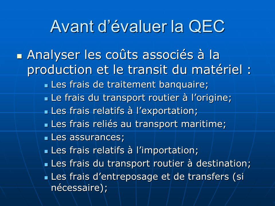 Avant d'évaluer la QEC Analyser les coûts associés à la production et le transit du matériel : Les frais de traitement banquaire;