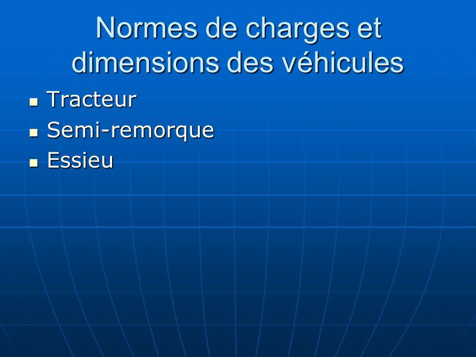 Normes de charges et dimensions des véhicules