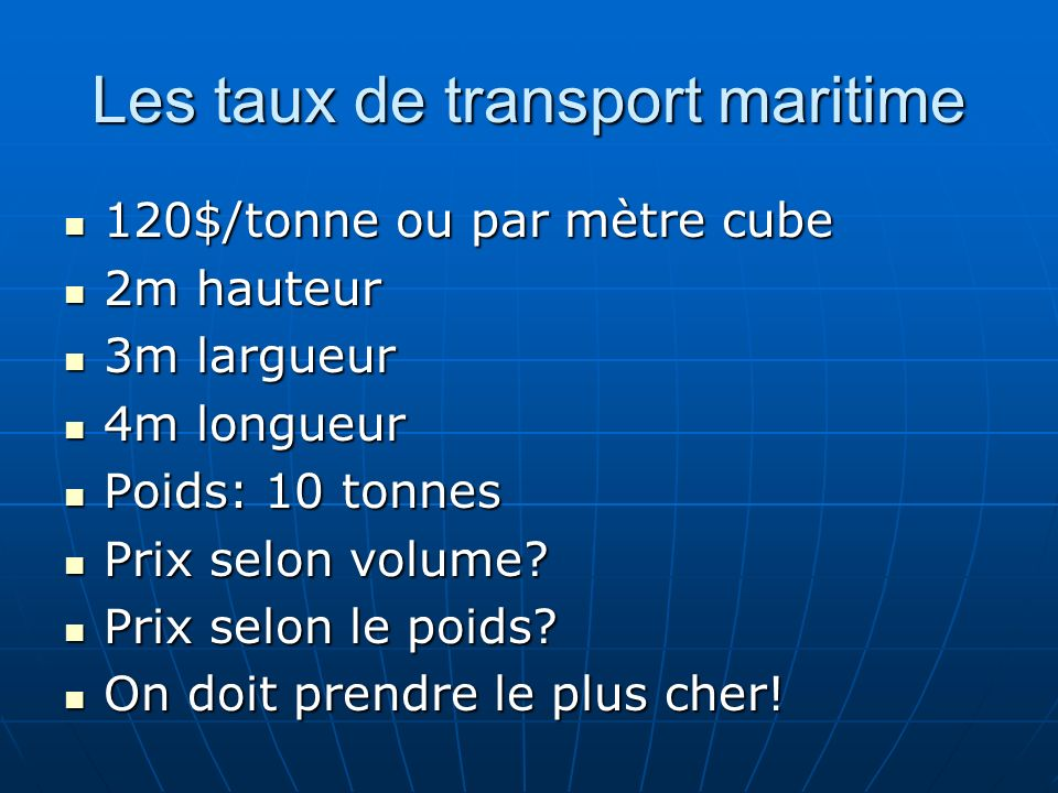 Les taux de transport maritime