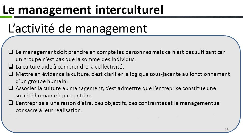 Le management interculturel L'activité de management