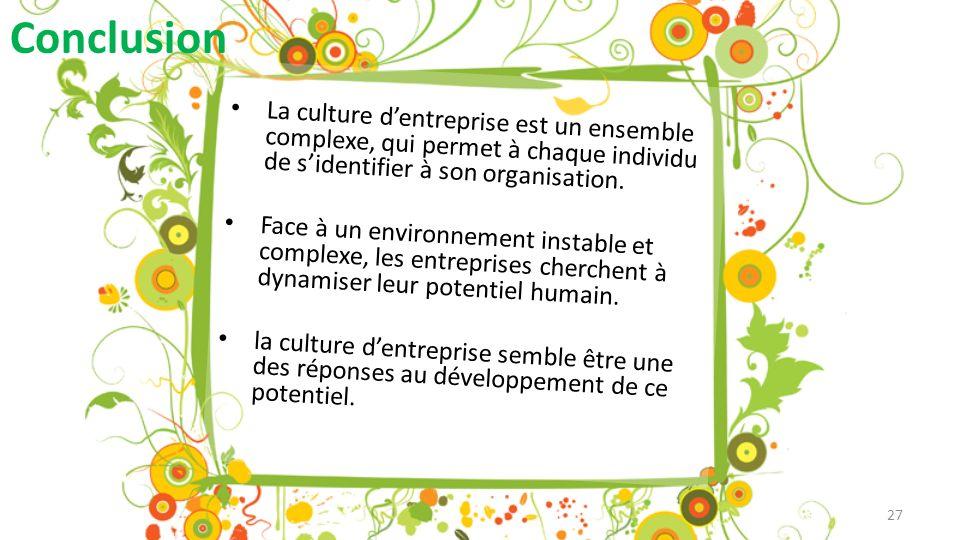 Conclusion La culture d'entreprise est un ensemble complexe, qui permet à chaque individu de s'identifier à son organisation.