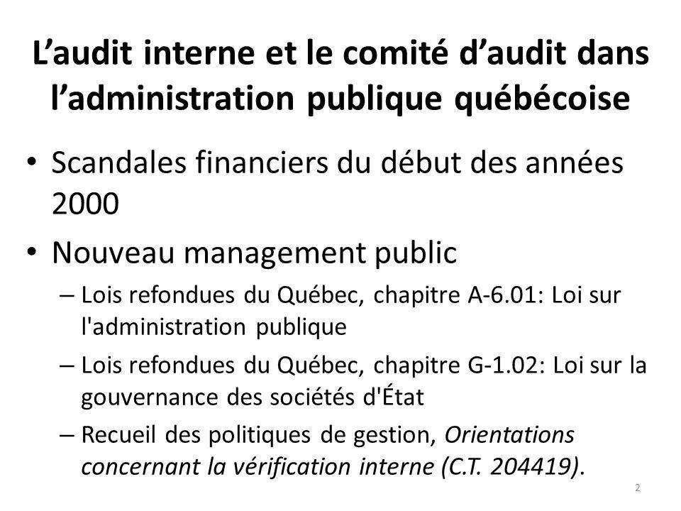L'audit interne et le comité d'audit dans l'administration publique québécoise