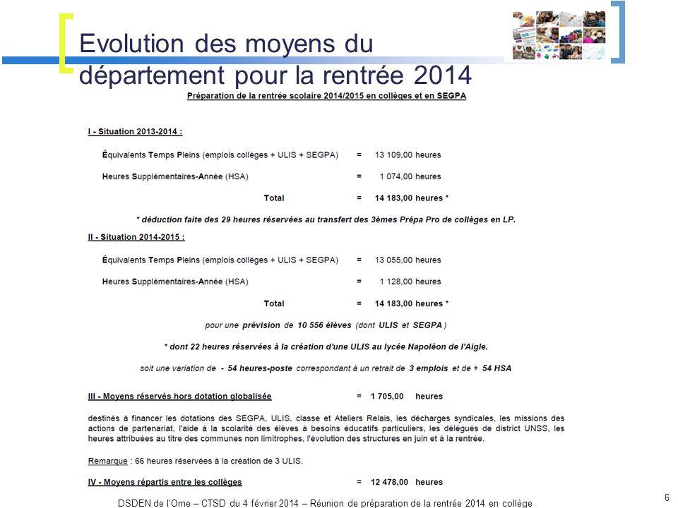 Evolution des moyens du département pour la rentrée 2014