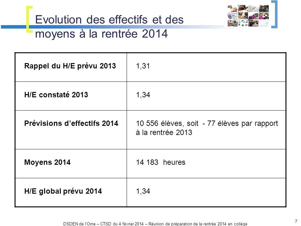 Evolution des effectifs et des moyens à la rentrée 2014