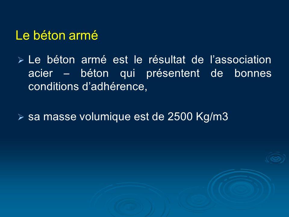 Le béton armé Le béton armé est le résultat de l'association acier – béton qui présentent de bonnes conditions d'adhérence,