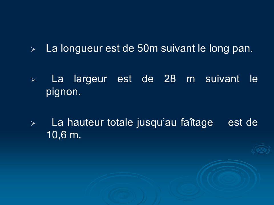 La longueur est de 50m suivant le long pan.