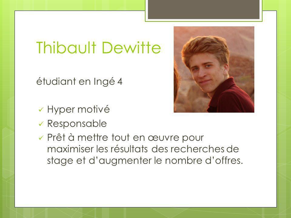 Thibault Dewitte étudiant en Ingé 4 Hyper motivé Responsable